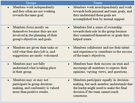 tuckman theory and difference between group and team essay